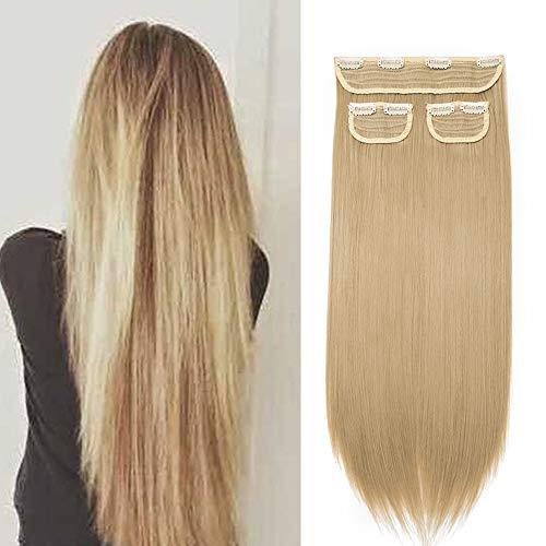 Clip de extensión Cabello rubio Clip en cabello lacio 3 bandas largas 50cm postizos falsos Cabeza completa para mujer Extensiones Efecto natural 190g, rubio ceniza