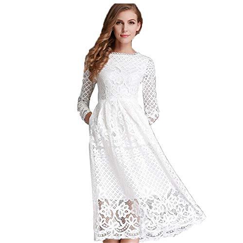 Kkwk Elegante sexy Spitze Frauen langes Kleid 2019 Sommer Stil Casual Langarm o Neck schlanke Kleider weiß schwarz bl