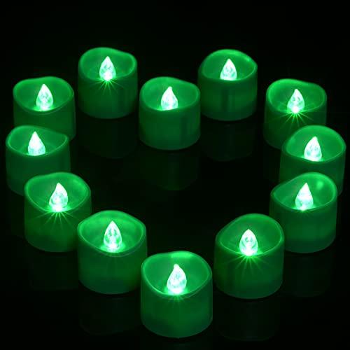Ymenow - Juego de 12 velas LED con temporizador, velas parpadeantes sin llama, velas eléctricas falsas para decoración del hogar, fiesta, Halloween, color verde