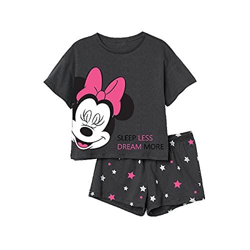 Minnie Maus Schlafanzug, kurz anthrazit 152
