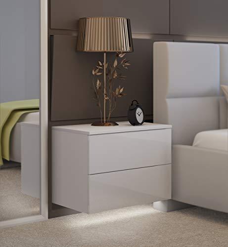 LUK Furniture Nachttisch Lina mit Schubladen Push to Open System und LED Beleuchtung Weiß Hochglanz HG Hängeschrank Schlafzimmer Schlafzimmerkommode Nachtkonsole Nachtschrank