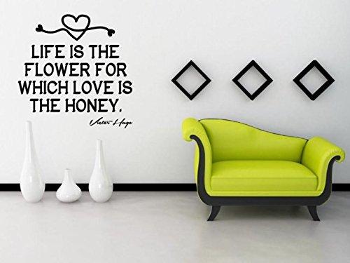JC Motif 'la vie est la fleur pour qui l'amour est le Miel' Victor Hugo – Amazing Sticker mural (Large : 80 cm x 80 cm/81,3 x 81,3 cm)