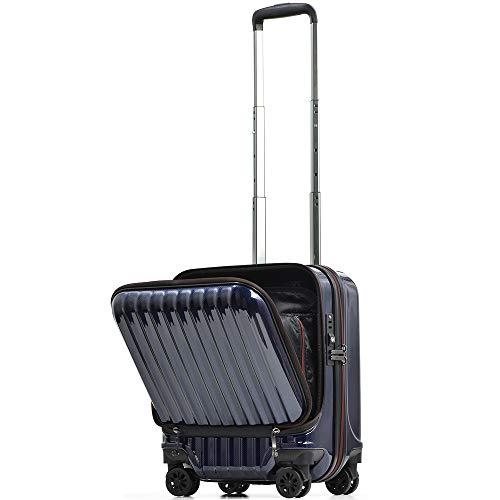 【PROEVO】スーツケース 機内持ち込み フロントオープン ストッパー付き サスペンション 8輪 機内持込 【AVANT】 ダブルキャスター キャリーケース キャリーバッグ 前ポケット 軽量 PCホルダー (SS-33L-ネイビー)