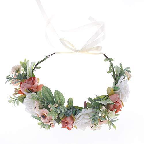 Ever Fairy Diadema de flores ajustable para el pelo, corona floral con cinta para bodas, ceremonias, fiestas festivales (FC921M-A)