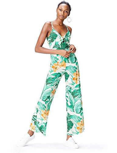 Marchio Amazon - find. Tuta Monopezzo con Stampa Tropicale Donna, Multicolore (Multicoloured), 42, Label: S