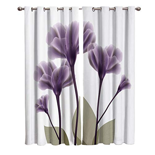 JNBGYAPS Blackout Curtains 3D Purple flower printing Thermal Insulated Curtains Eyelet Super Soft Window Treatment for Bedroom Window Decoration parlor bathroom 2 x 46.1 x 53.9 Inch