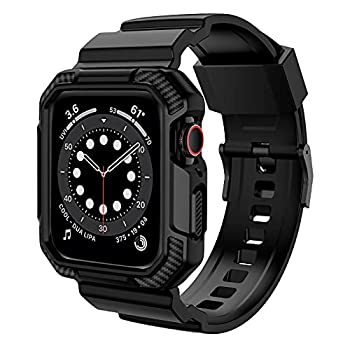 OROBAY Compatible with Apple Watch Band 44mm 42mm with Case Shockproof Rugged Band Strap for iWatch SE Series 6 5 4 3 2 1 44mm 42mm with Protective Bumper Case Cover Men Women Matte Black