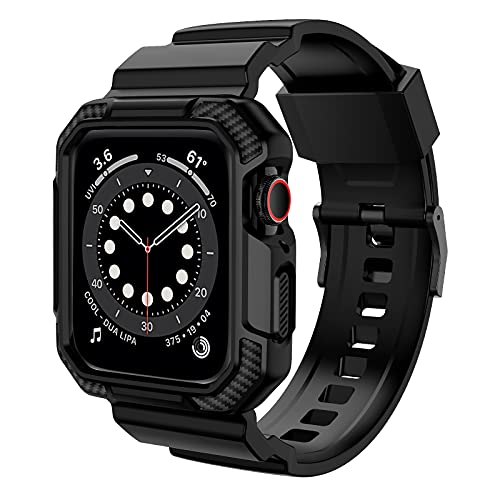 OROBAY Compatible with Apple Watch Band 44mm 42mm with Case, Shockproof Rugged Band Strap for iWatch SE Series 6 5 4 3 2 1 44mm 42mm with Protective Bumper Case Cover Men Women, Matte Black