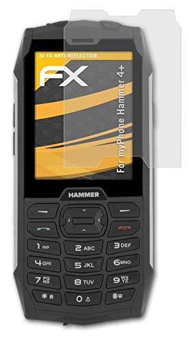 atFolix Panzerfolie kompatibel mit myPhone Hammer 4+ Schutzfolie, entspiegelnde & stoßdämpfende FX Folie (3X)