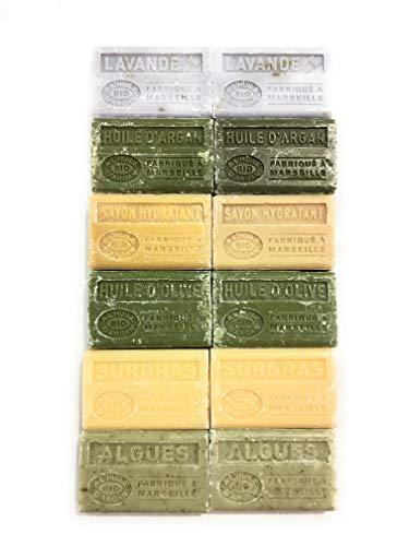 Lot de 12 savons BIO à l'huile d'argan, Fabriqué à Marseille 12 x100g / senteurs : 2 x lavande, 2 x huile d'argan, 2 x hydratant, 2 x huile d'olive, 2 x surgras, 2 x algues