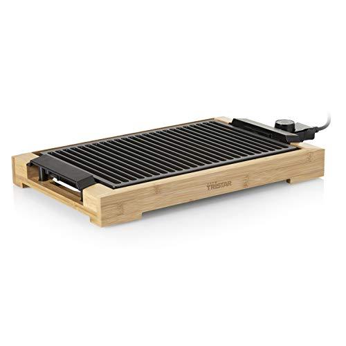 Tristar BP-2785 Parrilla y barbacoa eléctrica – Con elegante carcasa de bambú – Superficie para cocinar: 37x25cm
