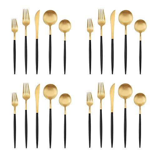 Matte Gold Silverware Set with black handle, Bysta 20-Piece Stainless Steel Flatware Set, Kitchen...