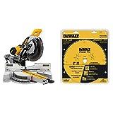 DEWALT DWS779 12' Sliding Compound Miter Saw with DEWALT DW7296PT Precision Trim 12-Inch 96 Tooth ATB...