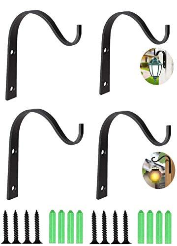 N-S 4 ganchos para colgar en la pared y colgantes, de hierro forjado de metal para plantas colgantes, farolillos de pájaros, carillones eólicos