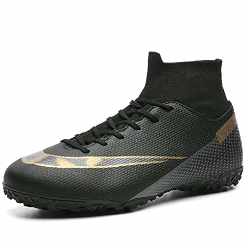 QZO Soccer Shoes,Men Football Boots Cleats,High-Top Sock for OutdoorIndoorCompetitionTraining ZQXCD05-M1-44,black,10