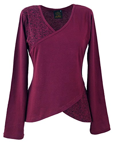 Guru-Shop Langarmshirt Boho-chic, Damen, Weinrot, Baumwolle, Size:L (40), Pullover, Longsleeves & Sweatshirts Alternative Bekleidung