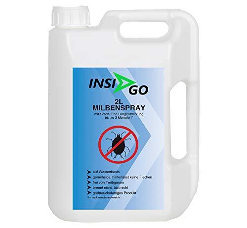 INSIGO 2L Milben-Spray gegen Hausstaubmilben Mittel zur Milbenbekämpfung - geruchloses Milben-Mittel - auf Wasserbasis