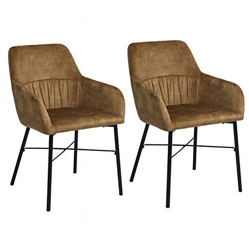 MEUBLE COSY – Juego de 2 sillas de Comedor escandinavas en Terciopelo marrón Sillón de salón de diseño con reposabrazos, 58,5 x 61 x 86,5 cm