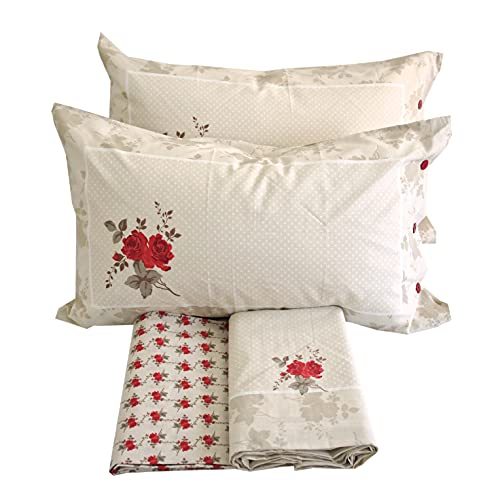 Juego de sábanas 100% algodón para cama de matrimonio de dos plazas (Angelica)