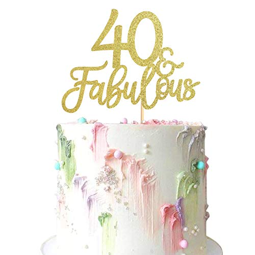 Ercadio 3 Pack Gold Glitter 40 & Fabulous Cake Toppers Number 40 Forty Cake Picks Decorations for 4Oth Birthday Wedding Anniverysary Party Supplies
