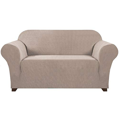 1 Piece High Stretch Loveseat Sofa Cover for 2 Cushion Couch Soft Spandex Form Fit Slip Resistant Stylish Furniture Cover with Elastic Bottom Sofa Slip Cover Protector (Loveseat, Sand)