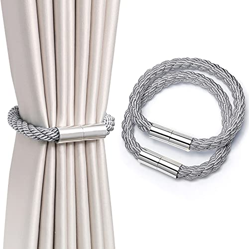 PHABULS 2 Pack Strong Magnetic Curtain Ties for Drapes 22.83inch Curtain Tiebacks Holders for Thin or Thick Window Draperies (Grey)