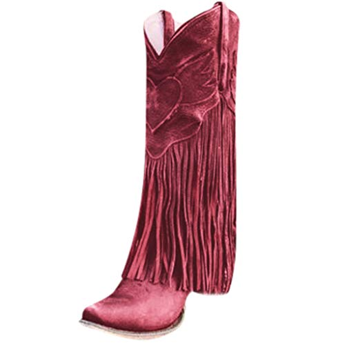 Check Out This jin&Co Western Boots for Women Fashion Pointed Toe Tassel Chunky Heel Anti Slip Fla...