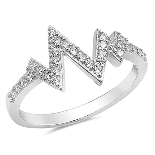 Heartbeat V Shaped Clear CZ Fashion Ring New 925 Sterling Silver Band Size 8