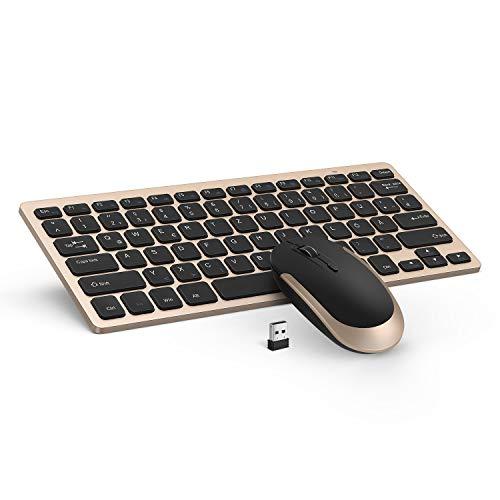 Jelly Comb Tastatur und Maus Set, 2.4G Kabellose Dünne Tastatur mit Funkmaus Kombi für Laptop, PC und Smart TV, Deutsches Layout QWERTZ, Schwarz und Gold