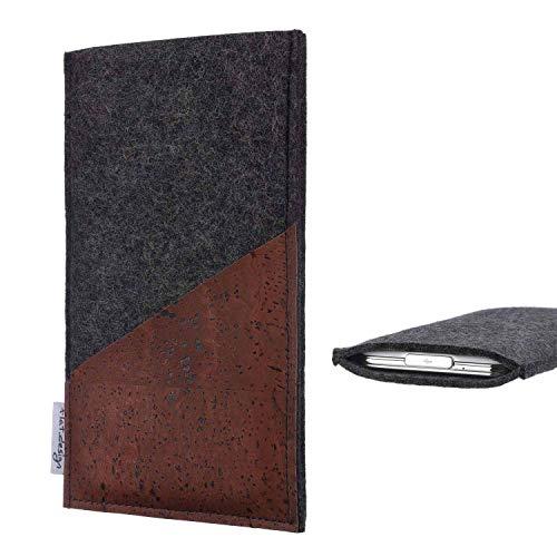 flat.design Handy Hülle Evora kompatibel mit BlackBerry KEYone Black Edition handgefertigte Handytasche Kork Filz Tasche Hülle fair dunkelgrau