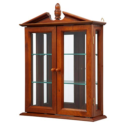 Design Toscano Amesbury Manor Glass Wall Mounted Storage Curio Cabinet, Mahogany
