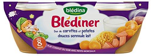 Blédina Blédîner Duo Dulce Patatas Y Las Zanahorias Leche De Sémola De 8 Meses 2 × 200 Glot 4