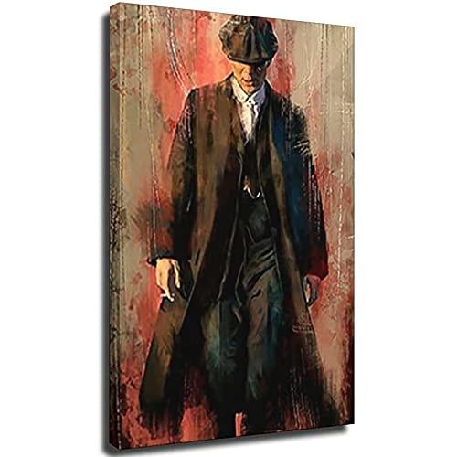 Cuadro de lienzo con diseño de retrato y lienzo para pared, póster e impresiones de Tommy Shelby película para decoración del hogar, 20 x 30 cm