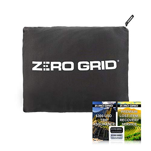 Zero Grid Premium Lightweight Wearable Super Soft Travel Blanket with Neck Snaps, Cozy Footpockets and Zipper Pouch, Airplane, Office Blanket for Travelers Converts to Pillow with Luggage Strap