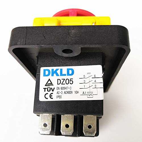 DKLD DZ05 7Pines IP55 400VAC 10A Interruptores Mediante Pulsación de Botón Resistente al Agua Emergencia Stop Start Encendido Apagado Electromagnético Interruptor de Pulsador