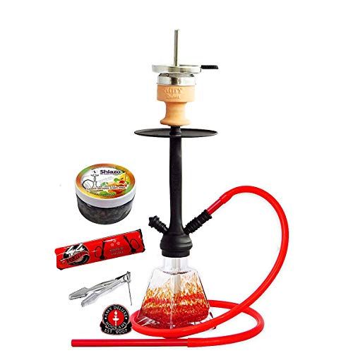 Amy Deluxe 'I need you' - Pyramiden-Shisha mit Silikonschlauch-Set und Kaminkopf, Geschenk-Set mit 44 Ring-Kohle & Shiazo, Farbe:Rot RS Schwarz