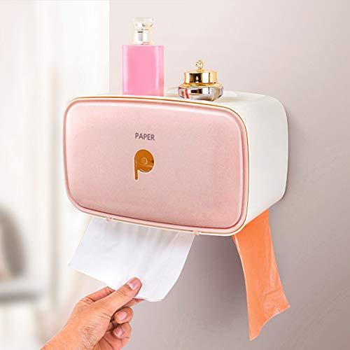 Soporte para papel higiénico Caja de almacenamiento de papel higiénico Fácil de instalar Caja de pañuelos montada en la pared Tubo de papel en rollo Caja de papel para hotel(Pink)