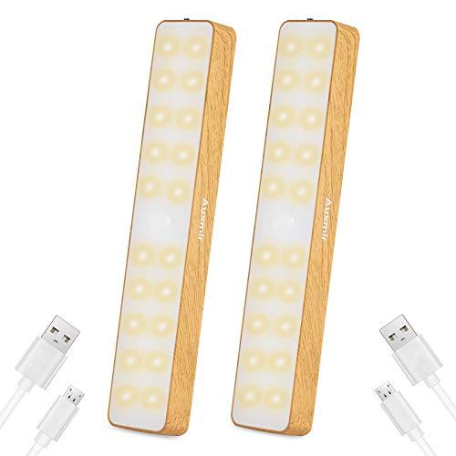 Auxmir Luz Armario con Sensor de Movimiento Recargable USB, Luz Interior adhesiva con 20 LED,Tiras Magnéticas, Lámpara Nocturna con 3 modos, para Escalera Pasillo Baño Garaje