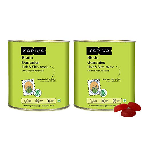 Kapiva Biotin Gummies -Plant Based Biotin Supplement infused with Aloe Vera for Hair Growth and Healthy Skin – 10 Gummies (Pack of 2)