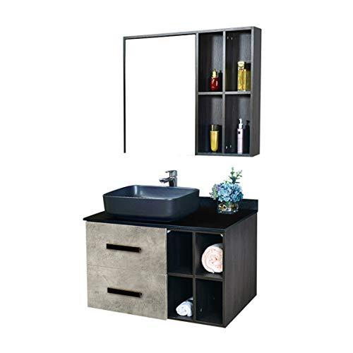 ZoSiP Mueble Lavabo y Mueble Espejo Mueble Multi-Capa de Pintura sin baño de baño Combinación de baño Cuarto de baño Vanity Mirror Gabinete Armario de baño (Color : Black, Size : 50x80x55cm)