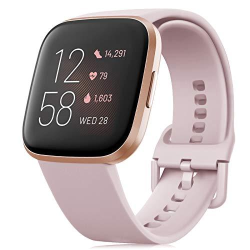 RIOROO Correa Compatible para Fitbit Versa Pulsera/Versa 2 Correa/Versa Lite Correas/Blaze Pulseras,Silicona Banda de Relojes para Hombres Mujeres, Deportivo Recambio de Pulsera Rosa,S