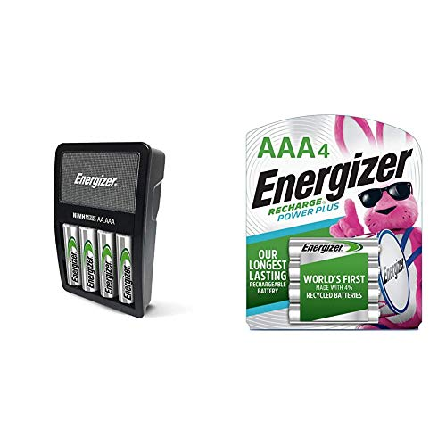 Energizer Rechargeable AA and AAA Battery Charger (Recharge Value) with 4 AA NiMH Rechargeable Batteries & Rechargeable AAA Batteries, NiMH, 800 mAh, Pre-Charged, 4 Count (Recharge Power Plus)