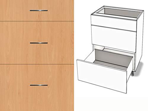 Premium-Ambiente AGEEPA0022 Unterschrank 3-Schubladen Soft Closing EURODEKOR® (Breite 60cm, 22 Ellmau Buche)