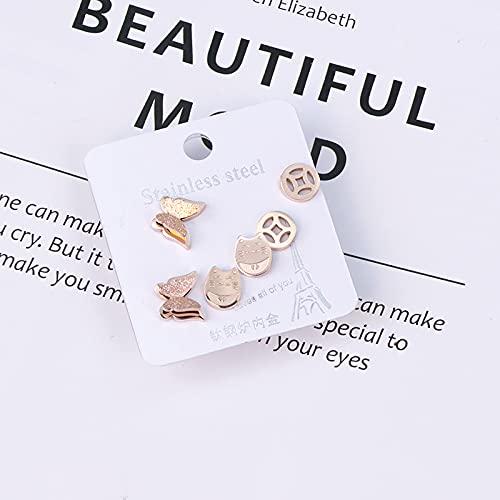Pendientes de acero de titanio temperamento femenino personalidad simple oro rosa exquisito super hada pequeños pendientes de moda Juego de monedas de cobre mariposa de tres piezas