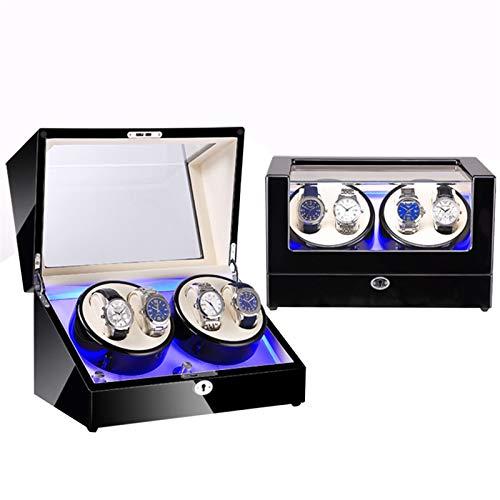 ZNND Reloj automático enrollador de reloj, 4 espacios, enrolladores de relojes para relojes automáticos, iluminación integrada, adecuado para hombres y mujeres (color: G)