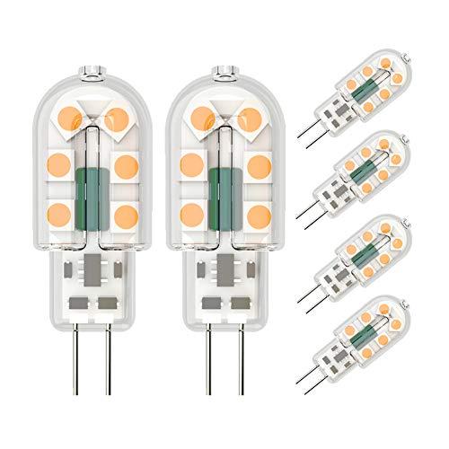 Klighten 6 Pack Ampoule LED G4 3W Économie d'énergie Équivalent 25W Lampe Halogène G4 LED 360° Angle de faisceau AC/DC 12V 300LM Blanc Chaud 3000K Chambre Salon Cuisine