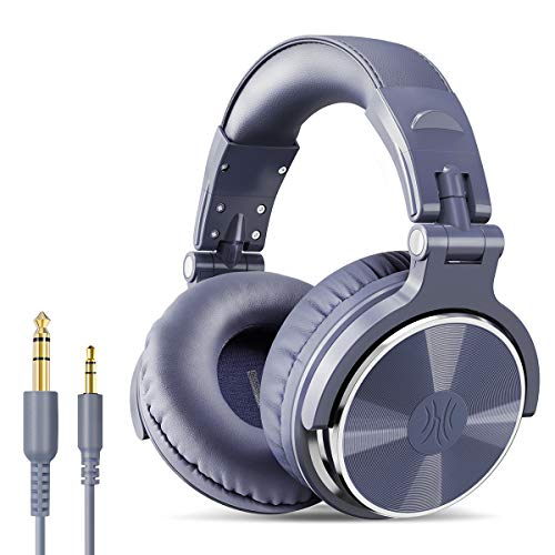 OneOdio Over Ear Headphone, Wired Bass Headsets with 50mm Driver, Foldable Lightweight Headphones with Share Port and Mic for Recording Monitoring Mixing Podcast Guitar PC TV (Light Blue)