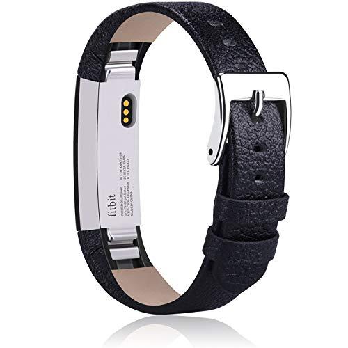 Vancle Kompatibel für Fitbit Alta HR Armband und Fitbit Alta Armband, Weiches Lederarmband Ersatzarmband für Fitbit Alta/Fitbit Alta HR (Schwarz)