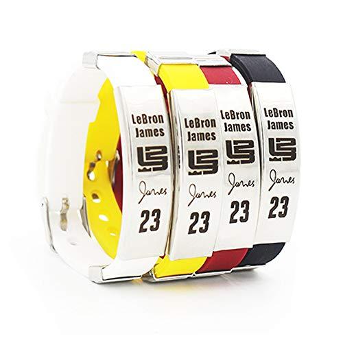 Brazalete Ajustable de Silicona de la Estrella del Equipo de Baloncesto de la NBA Pulsera Deportiva de Silicona 4 Piezas (Lebron James)