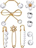 WILLBOND 9 Pieces Sweater Shawl Clips Faux Pearl Dresses Cardigan Collar Clips Flower Bow Pattern Brooch Clips